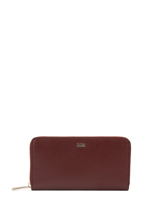 Zip-around wallet in Saffiano leather with multiple compartments, Dark Red
