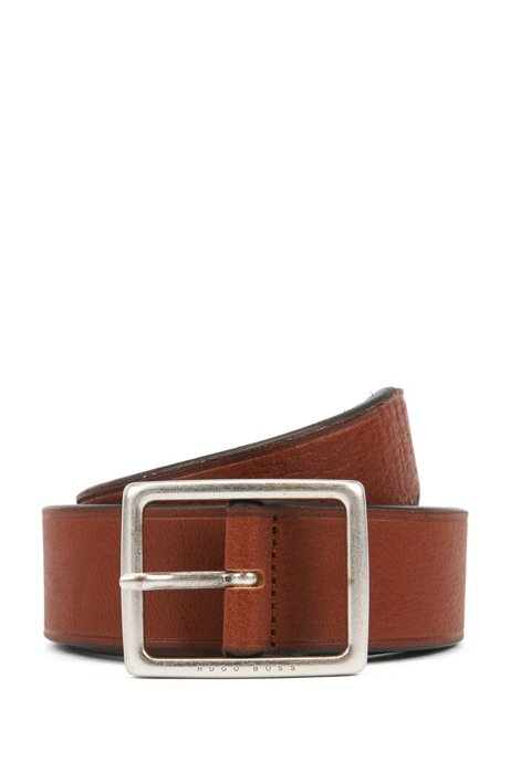 Italian-made belt in grained leather with brushed hardware, Brown