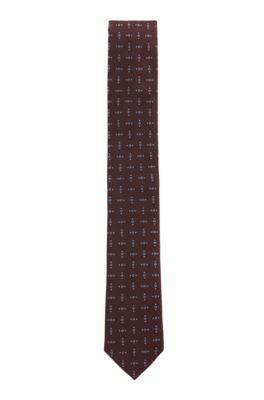 Krawatte aus italienischer Seide mit dezenten Quadraten, Dunkelrot
