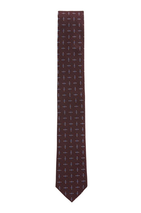 Tie in Italian silk with micro squares, Dark Red
