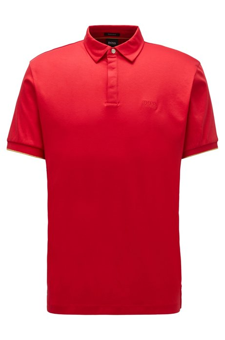 Polo shirt in interlock cotton with golden accents, Red