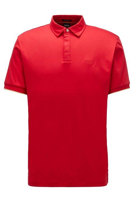Polo en coton interlock avec finitions dorées, Rouge