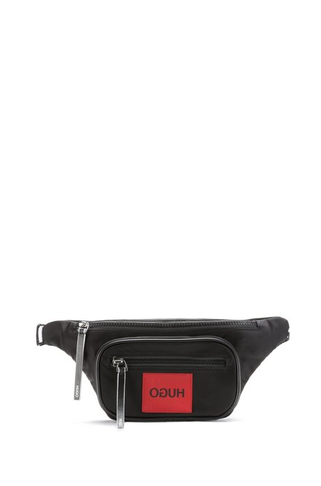 Nylon gabardine belt bag with reverse-logo patch, Black