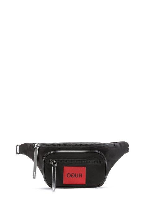 Sac ceinture en gabardine de nylon avec étiquette à logo inversé, Noir