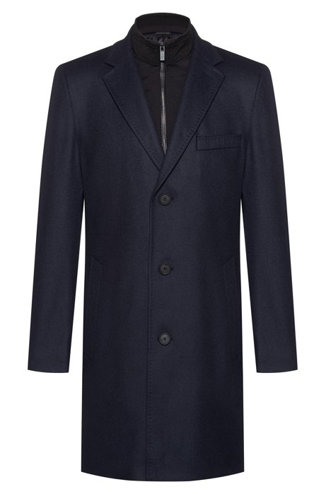 Virgin-wool-blend coat with knitted stand collar, Dark Blue