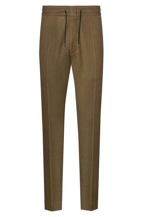 Pantalon Tapered Fit en laine mélangée avec cordon de serrage à la taille, Vert sombre