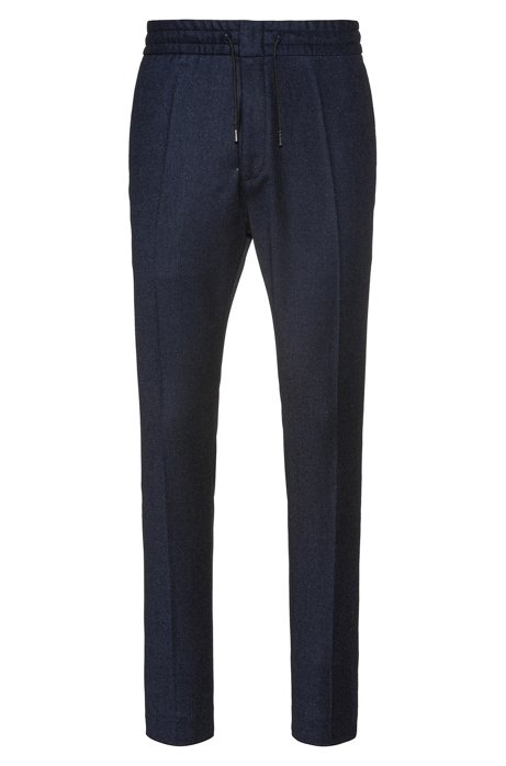 Tapered-fit trousers with drawstring waist in wool blend, Blue