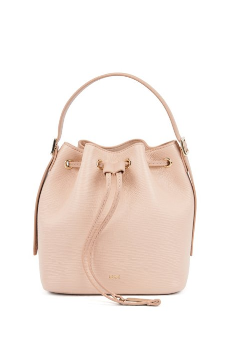 Bucket bag in printed Italian leather with signature hardware, Light Beige
