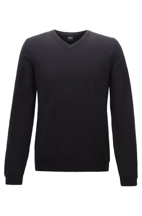 Virgin-wool V-neck sweater with logo embroidery, Black