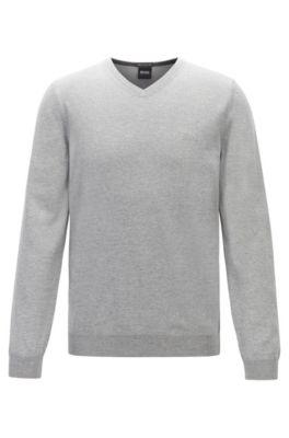 Maglione con scollo a V in lana vergine con logo ricamato, Grigio