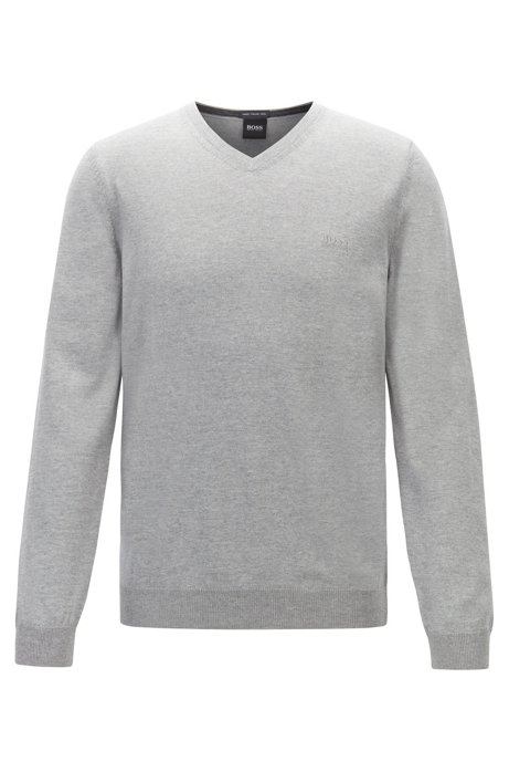 Virgin-wool V-neck sweater with logo embroidery, Grey