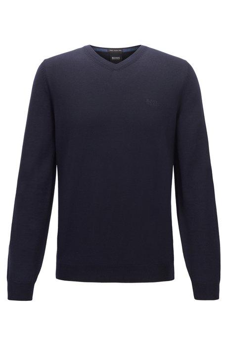 Maglione con scollo a V in lana vergine con logo ricamato, Blu scuro