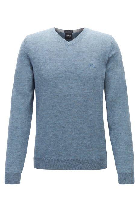 Maglione con scollo a V in lana vergine con logo ricamato, Celeste