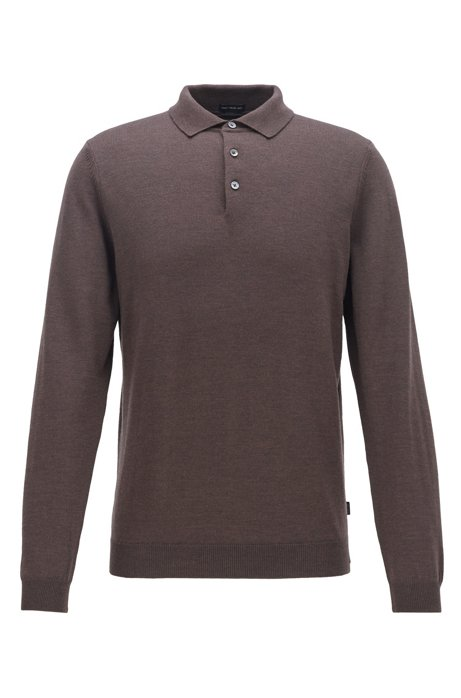Virgin-wool sweater with polo collar, Dark Brown