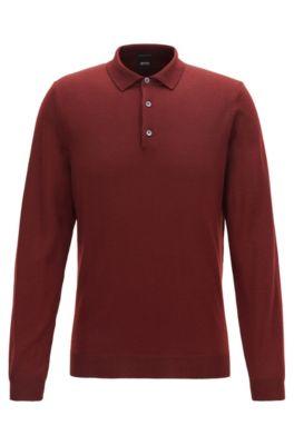 Virgin-wool sweater with polo collar, Dark Red
