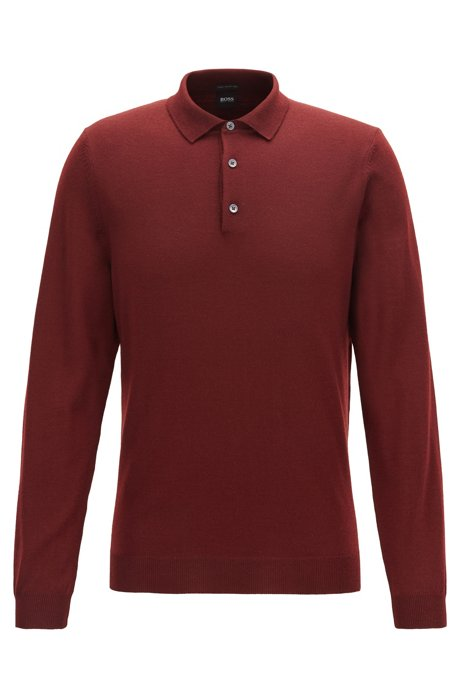 Virgin-wool sweater with polo collar, Dark Red