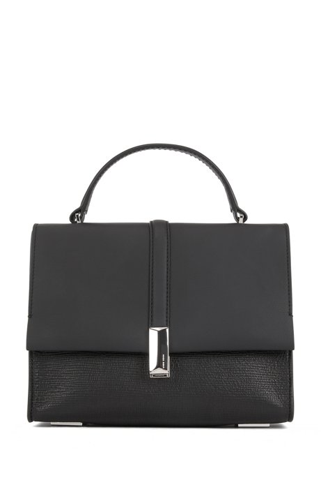 Mixed-leather handbag with signature hardware, Black