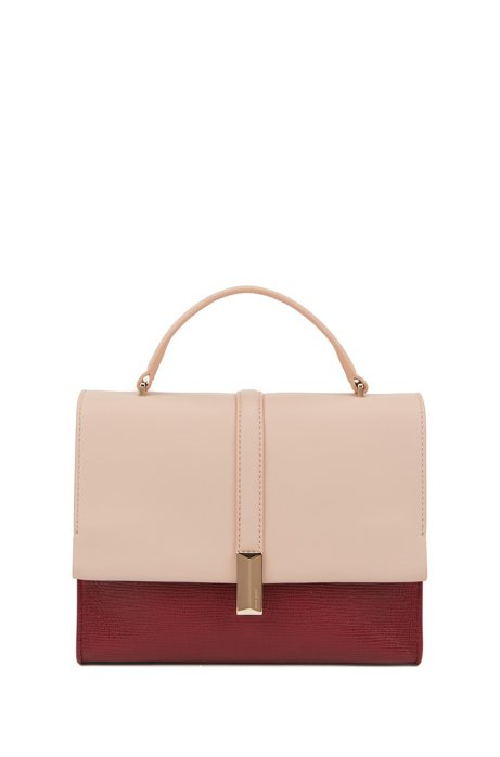 Mixed-leather handbag with signature hardware, Dark Red