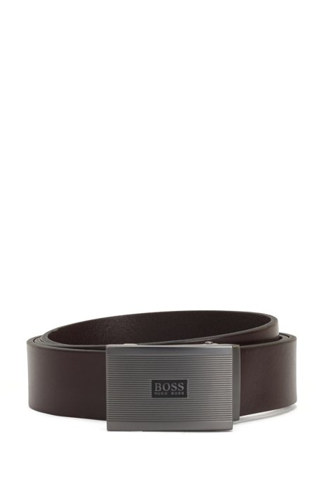 Leather belt with ridged plate buckle, Dark Brown