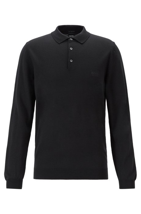 Virgin-wool sweater with polo collar and logo embroidery, Black
