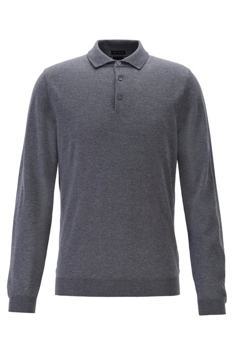 Virgin-wool sweater with polo collar and logo embroidery, Grey