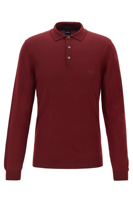 Virgin-wool sweater with polo collar and logo embroidery, Dark Red