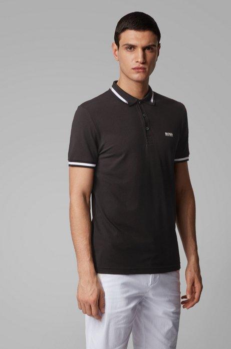 Polo slim fit con S.Café® y logo en el cuello, Negro