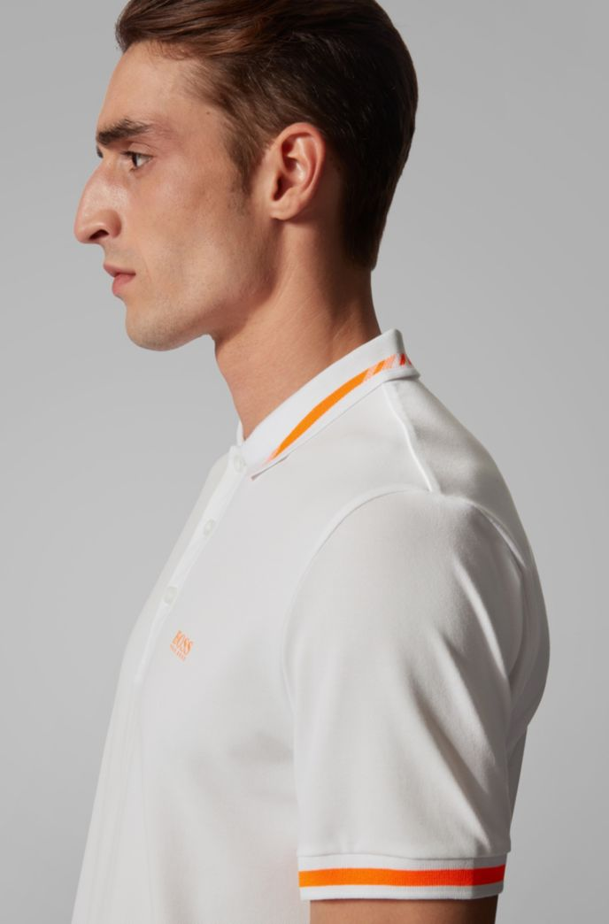 Slim-fit polo shirt with S.Café® and logo collar