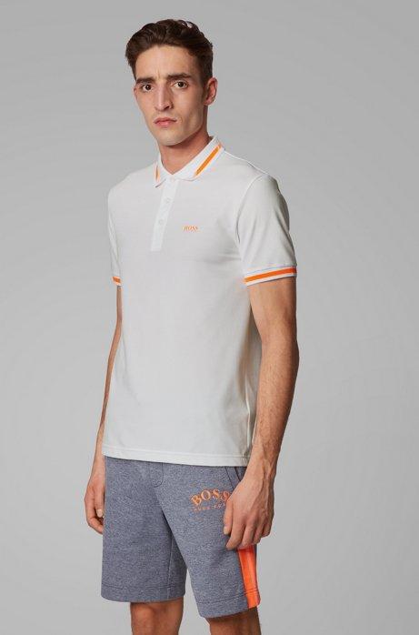 Slim-fit polo met S.Café® en kraag met logo, Wit