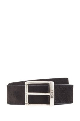 Suede belt with a washed effect and antique hardware, Black