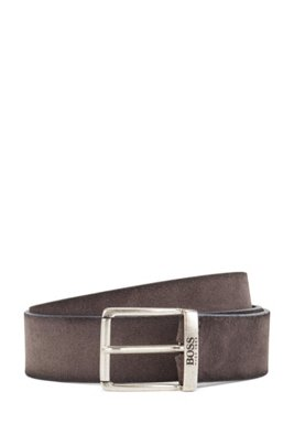 Suede belt with a washed effect and antique hardware, Grey