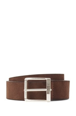 Suede belt with a washed effect and antique hardware, Dark Brown