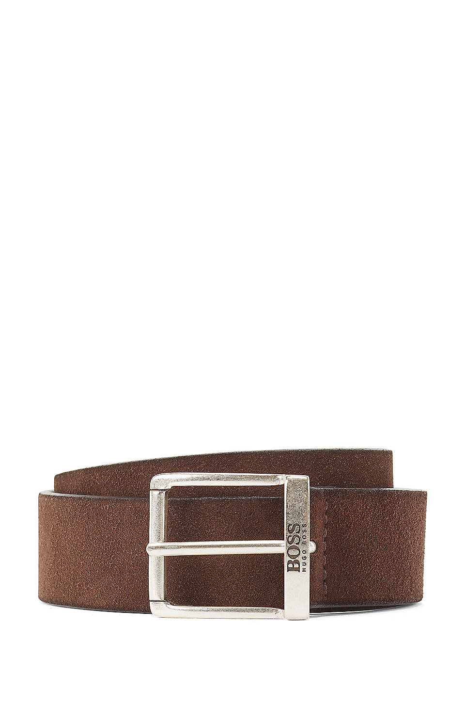 Suede Belt With A Washed Effect And Antique Hardware by Boss