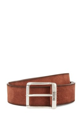 Suede belt with a washed effect and antique hardware, Brown