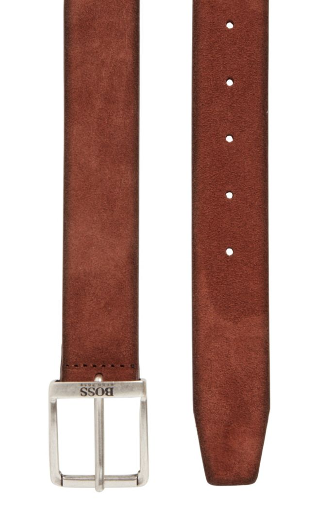 Suede belt with a washed effect and antique hardware