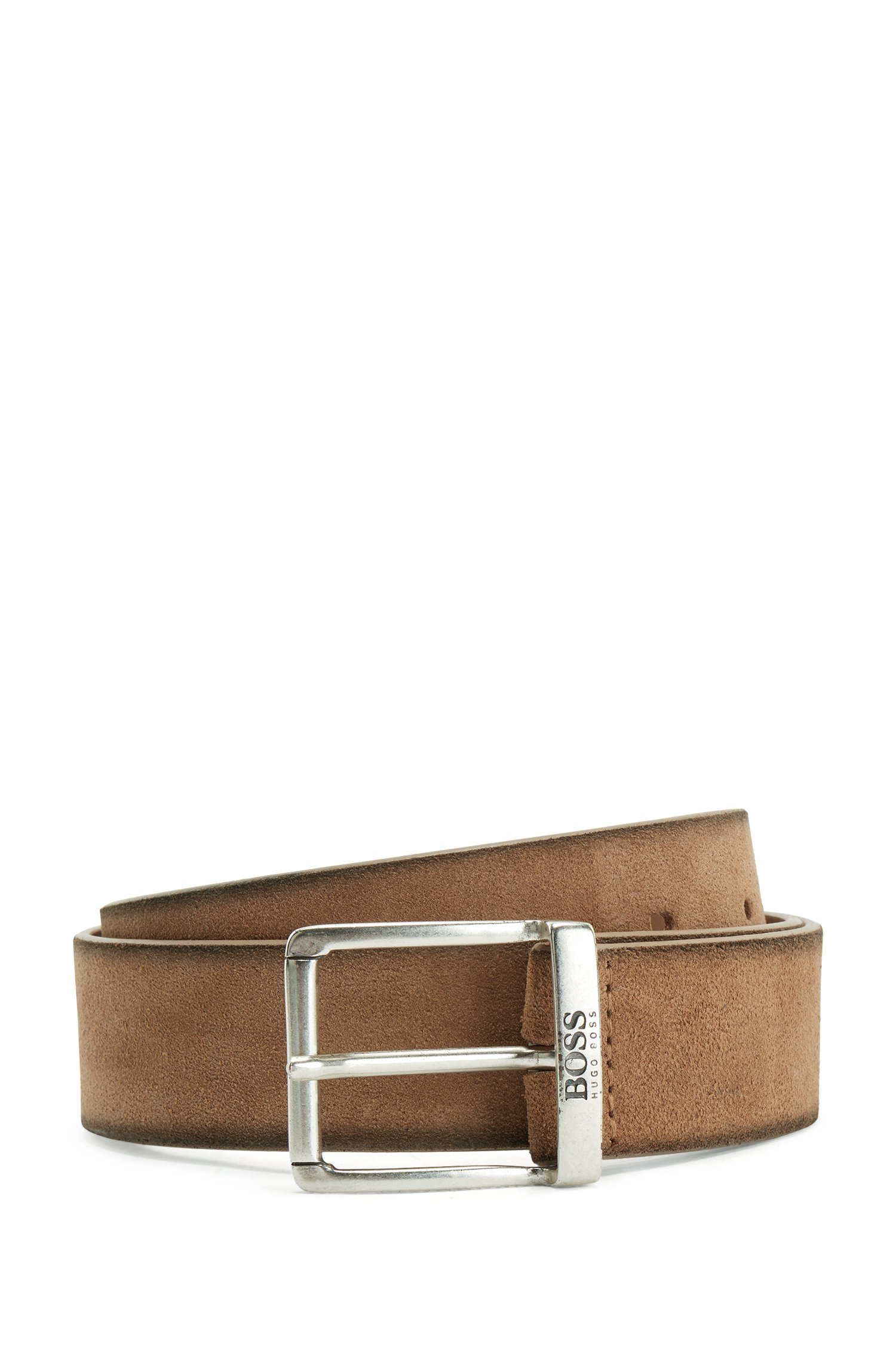 Suede belt with a washed effect and antique hardware, Light Brown