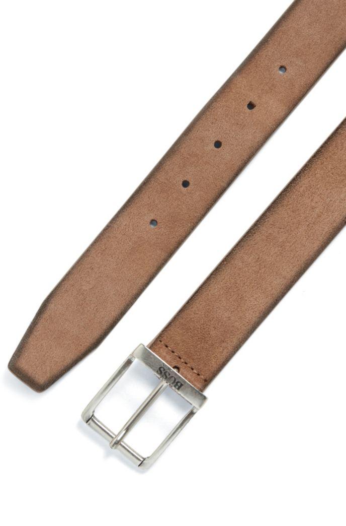 Cinturón de ante con efecto lavado y herrajes envejecidos