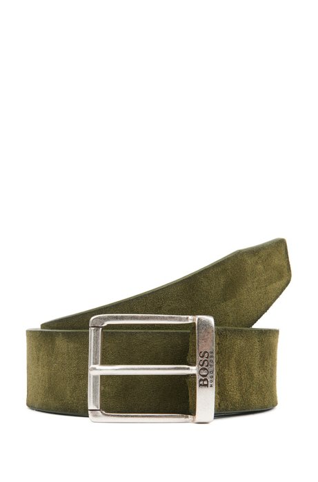 Suede belt with a washed effect and antique hardware, Open Green