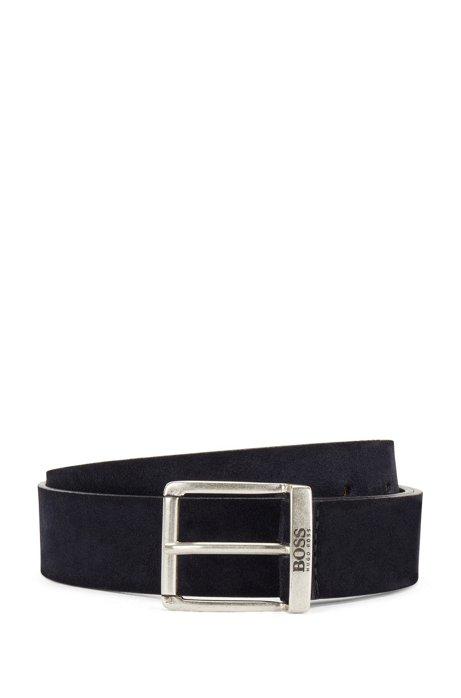 Cinturón de ante con efecto lavado y herrajes envejecidos, Azul oscuro