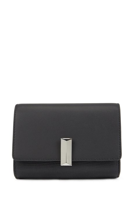 Belt bag in Italian leather with detachable chain, Black