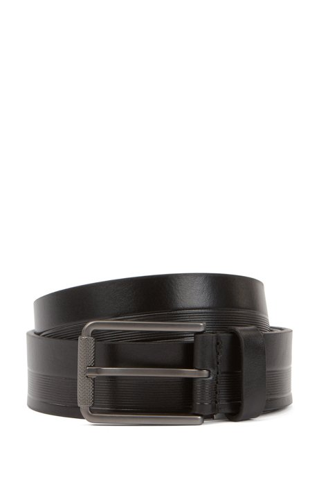 Italian-made belt in structured leather with milled buckle, Black