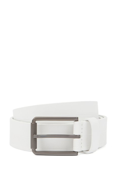Italian-made belt in structured leather with milled buckle, White