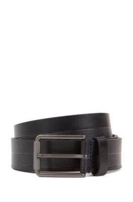 Cinturón fabricado en Italia de piel con estructura y hebilla grabada, Azul oscuro