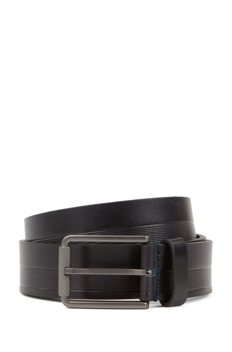 Italian-made belt in structured leather with milled buckle, Dark Blue