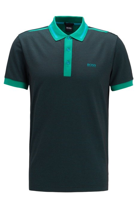 Regular-fit polo shirt with three-colour jacquard, Green
