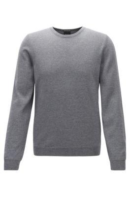 Pullover aus Schurwolle mit Logo-Stickerei und Rundhalsausschnitt, Grau