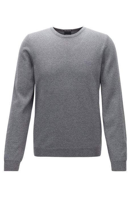 Virgin-wool sweater with logo embroidery and crew neckline, Grey