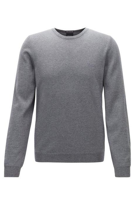 Maglione in lana vergine con logo ricamato e scollatura a girocollo, Grigio