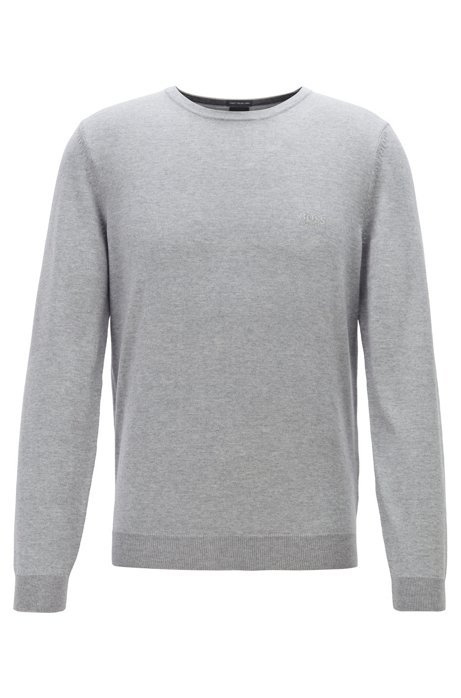 Virgin-wool sweater with logo embroidery and crew neckline, Silver