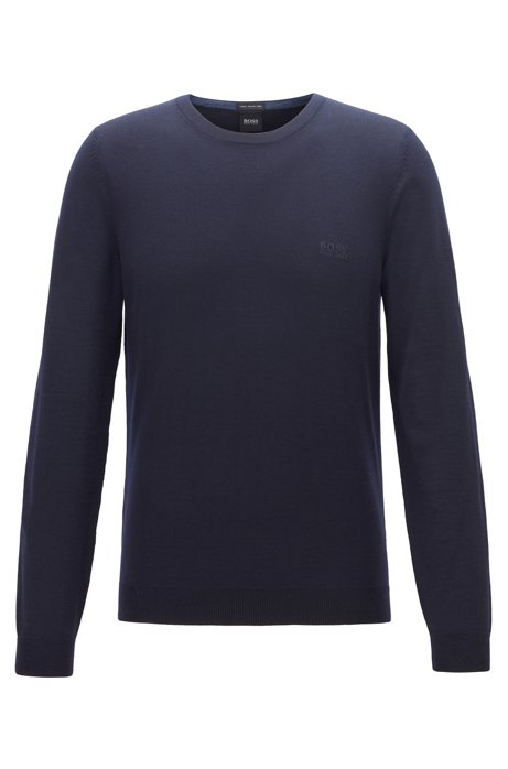 Virgin-wool sweater with logo embroidery and crew neckline, Dark Blue